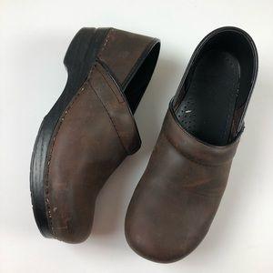 Dansko leather clog shape shoe brown/black 41